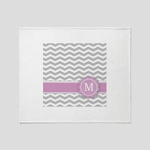 Letter M Pink Monogram Grey Chevron Throw Blanket