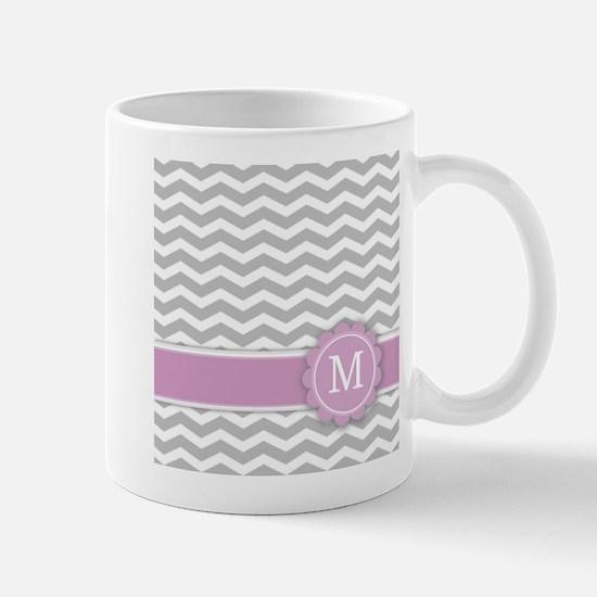 Letter M Pink Monogram Grey Chevron Mugs