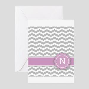 Letter N Pink Monogram Grey Chevron Greeting Cards