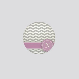 Letter N Pink Monogram Grey Chevron Mini Button