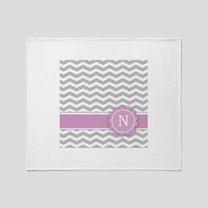 Letter N Pink Monogram Grey Chevron Throw Blanket
