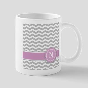 Letter N Pink Monogram Grey Chevron Mugs