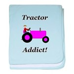 Purple Tractor Addict baby blanket