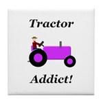 Purple Tractor Addict Tile Coaster