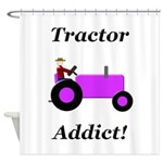 Purple Tractor Addict Shower Curtain