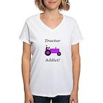 Purple Tractor Addict Women's V-Neck T-Shirt