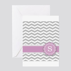 Letter S Pink Monogram Grey Chevron Greeting Cards