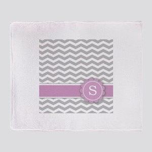 Letter S Pink Monogram Grey Chevron Throw Blanket