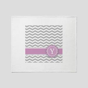 Letter Y Pink Monogram Grey Chevron Throw Blanket