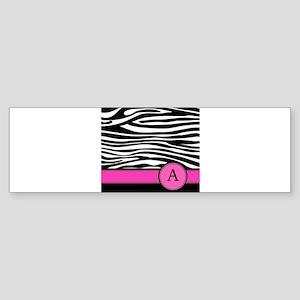 Pink Letter A Zebra stripe Bumper Sticker