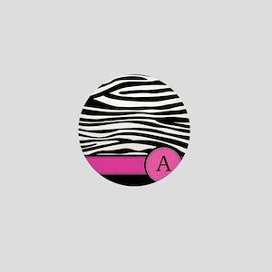 Pink Letter A Zebra stripe Mini Button