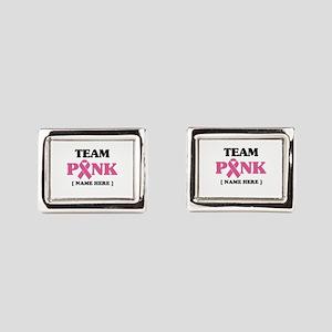 Pink Ribbon Awareness Team Rectangular Cufflinks