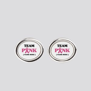 Pink Ribbon Awareness Team Oval Cufflinks