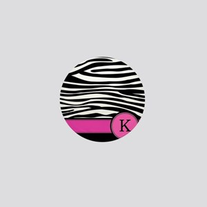 Pink Letter K Zebra stripe Mini Button