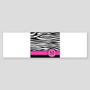 Pink Letter M Zebra stripe Bumper Sticker