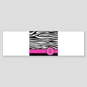 Pink Letter Z Zebra stripe Bumper Sticker