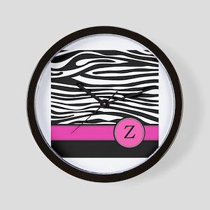 Pink Letter Z Zebra stripe Wall Clock