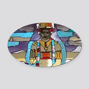 Dhanvantari Stained Glass Panel Oval Car Magnet