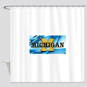 Michigan Abstract License Plate Shower Curtain
