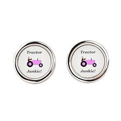 Pink Tractor Junkie Cufflinks