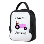 Pink Tractor Junkie Neoprene Lunch Bag
