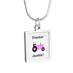 Pink Tractor Junkie Silver Square Necklace