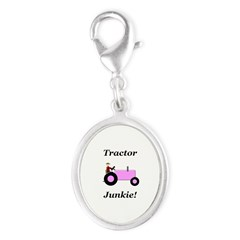 Pink Tractor Junkie Silver Oval Charm