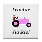 Pink Tractor Junkie Tile Coaster