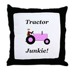 Pink Tractor Junkie Throw Pillow