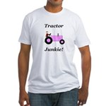 Pink Tractor Junkie Fitted T-Shirt