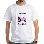 Pink Tractor Junkie White T-Shirt