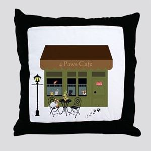 4 Paws Cafe Banner Throw Pillow