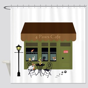 4 Paws Cafe Banner Shower Curtain