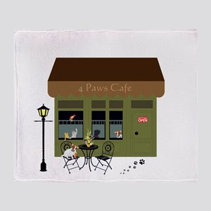 4 Paws Cafe Banner Throw Blanket