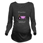 Pink Tractor Addict Long Sleeve Maternity T-Shirt