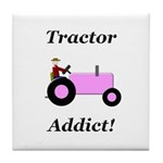 Pink Tractor Addict Tile Coaster