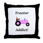 Pink Tractor Addict Throw Pillow