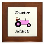 Pink Tractor Addict Framed Tile