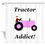 Pink Tractor Addict Shower Curtain