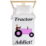 Pink Tractor Addict Twin Duvet