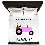 Pink Tractor Addict King Duvet