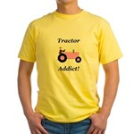 Pink Tractor Addict Yellow T-Shirt