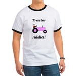 Pink Tractor Addict Ringer T