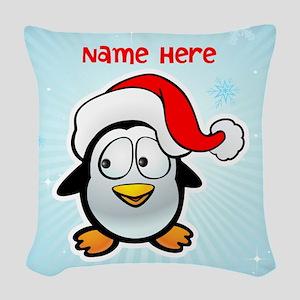 Penguin Santa Woven Throw Pillow