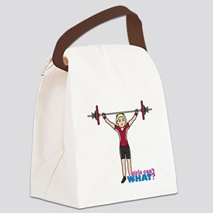 Weight Lifter Light/Red Canvas Lunch Bag