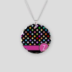 Pink Letter Z Monogram rainbow polka dot Necklace