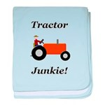 Orange Tractor Junkie baby blanket