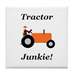 Orange Tractor Junkie Tile Coaster