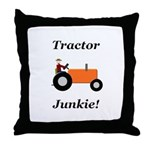 Orange Tractor Junkie Throw Pillow