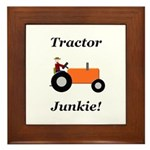 Orange Tractor Junkie Framed Tile